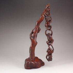 Vintage Chinese Boxwood Statue - Three Monkeys