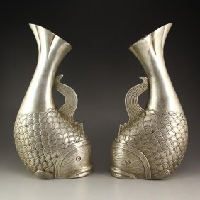 A Pair Chinese White Copper Fish Shape Vases