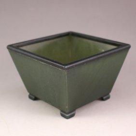 Chinese Green Hetian Jade Small Incense Burner