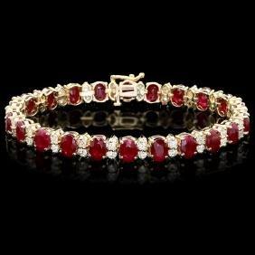 14k Gold 24.50ct Ruby 3.80ct Diamond Bracelet