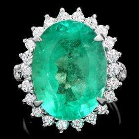 18k Gold 11.35ct Emerald 1.30ct Diamond Ring