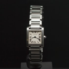 Cartier Small Tank Francaise Stainless Steel Women's