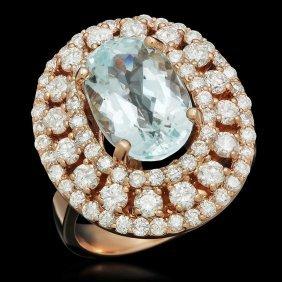 14k Gold 4.35ct Aquamarine 2.09ct Diamond Ring