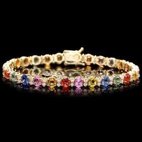 14k Gold 12ct Sapphire 1.80ct Diamond Bracelet