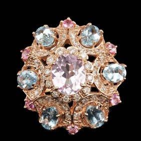 14k Rose Gold 3.50ct Kunzite 1.25ct Diamond Ring