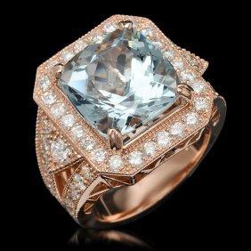 14k Gold 9.48ct Aquamarine & 2.10ct Diamond Ring