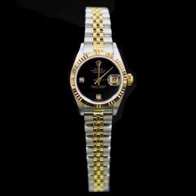 Rolex Two-tone Datejust 26mm Factory (2) Diamonds Black