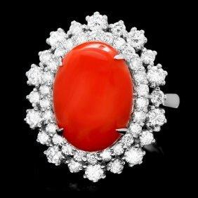 14k White Gold 5.50ct Coral 1.60ct Diamond Ring