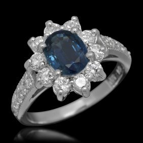 14k Gold 1.44ct Sapphire 1.02ct Diamond Ring
