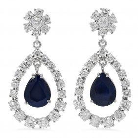 14k Gold 10.37ct Sapphire 7.08ct Diamond Earrings