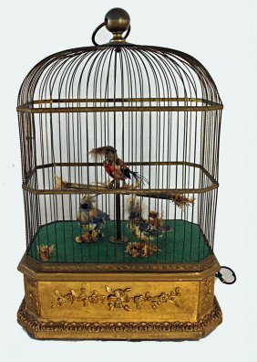 Three Singing Birds In Cage