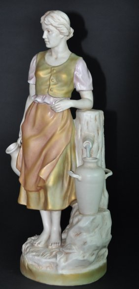 A Rare Royal Dux Porcelain Figure: Lady At The Well