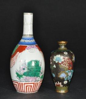 (lot Of 2) Meiji Period Japanese Cloisonne Enamel Vase