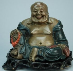 A 19th Century Lacquered Wooden Buddha