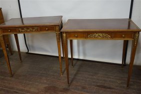 Two (2) Louis Xv Style Leather Top Dore Bronze Tables