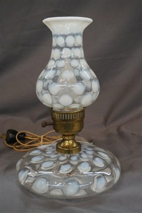 """Fenton French Opalescent Coin Spot """"pancake"""" Lamp"""