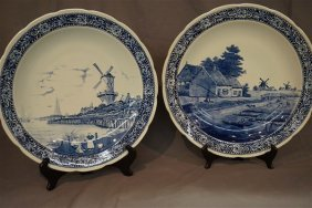 Impressive Large Blue And White Delft Chargers