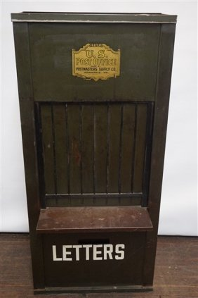 U.s. Post Office Clerk's Window And Letter Receptacle