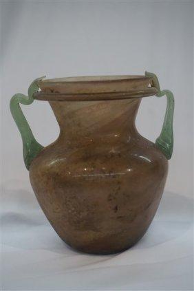 Ancient Roman Glass Double Handled Vase