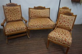 Late Victorian Carved Maple Wood Parlor Suite