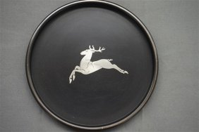 Perstorp Sweden Art Deco Silver Stag Inlay Tray