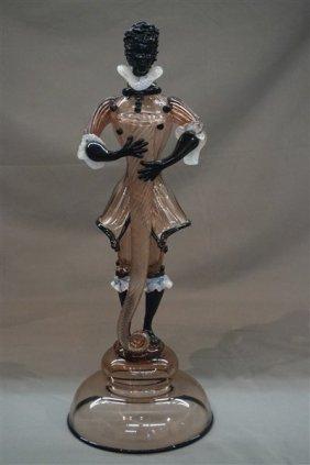 Murano Glass Blackamoor Figural Candlestick