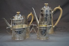 4pc. Victorian Sterling Silver Tea Service 19th Century