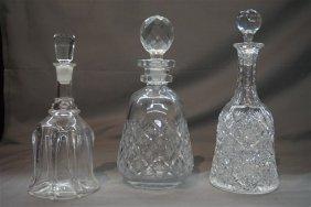 Three (3) High Quality Cut Glass & Crystal Decanters