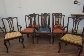 Eight (8) Chippendale Style Carved Mahogany Chairs