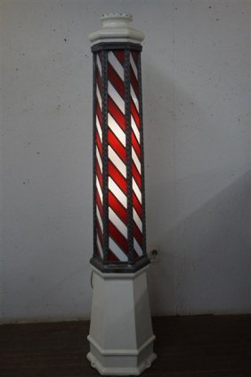 Stained Glass Barber Pole On Porcelain Base, Koken