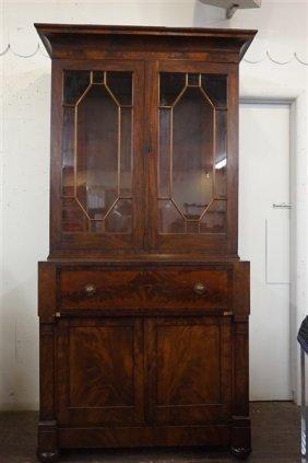 Fine Early American Mahogany Secretaire Bookcase