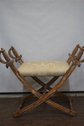 Regency Style Carved Cross Swords Bench