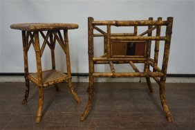 Two (2) Victorian Bamboo Stand And Magazine Rack