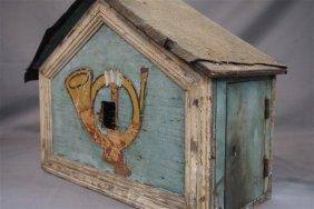 19th C. American Folk Art Robin's Egg Blue Bird House