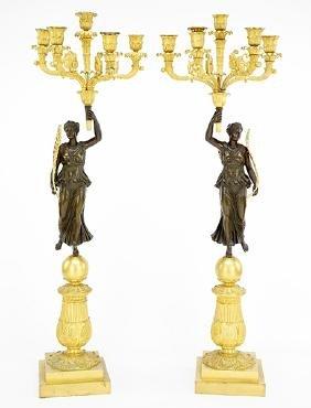 A Pair Of French Empire Gilt Bronze Four-light