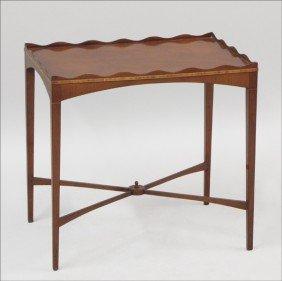 ENGLISH BANDED MAHOGANY SIDE TABLE.