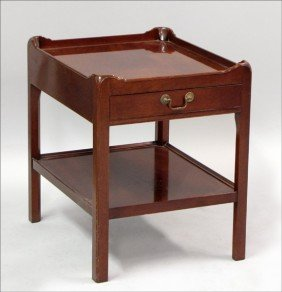 MAHOGANY TWO-TIER SIDE TABLE.