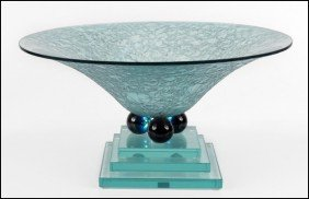CONTEMPORARY GLASS BOWL ON STAND.