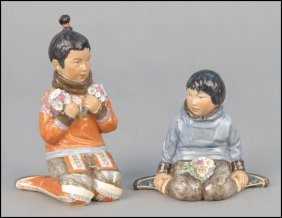 TWO ROYAL COPENHAGEN PORCELAIN FIGURES.