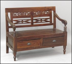 BALI CARVED WOOD BENCH.