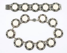 A Niels Erik From Bone And Sterling Silver Demi-parure.