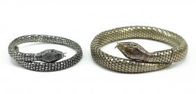 Two Whiting And Davis Coiled Serpent Bracelets.