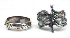 A Ballesteros Sterling And Abalone Hinge Bracelet.