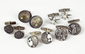 A Pair Of Alva Studios Carved Sterling Silver Cufflinks