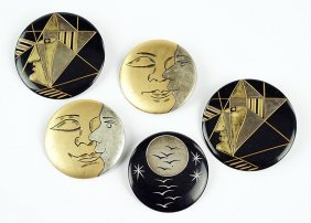 A Collection Of Five Art Deco Resin Circle