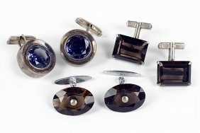 A Pair Of Smoky Quartz And Sterling Silver Cufflinks.