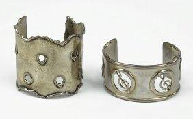 Two Sterling Silver Cuff Bracelets.