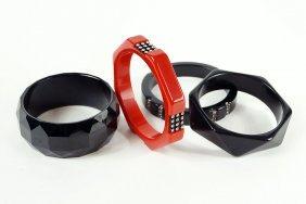 A Black Bakelite And Rhinestone Bangle Bracelet.