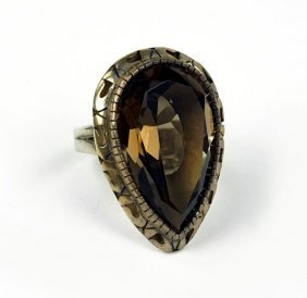 A Smoky Quartz And Sterling Silver Ring.