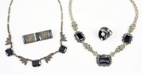 A Hematite, Marcasite, And Sterling Silver Necklace.